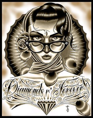 Diamonds R Forever Black Stretched Canvas Print