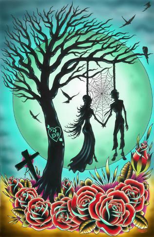 Love til Death Stretched Canvas Print