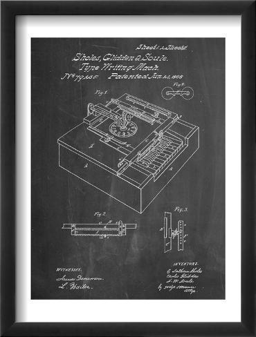Type Writing Machine Patent Framed Art Print