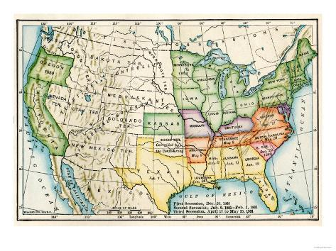 US Map Showing Seceeding States By Date American Civil War C - 1861 us map