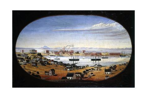 U.S. Navy Yard, Mare Island, California, 1857. Created by Mathews, Felix Stretched Canvas Print