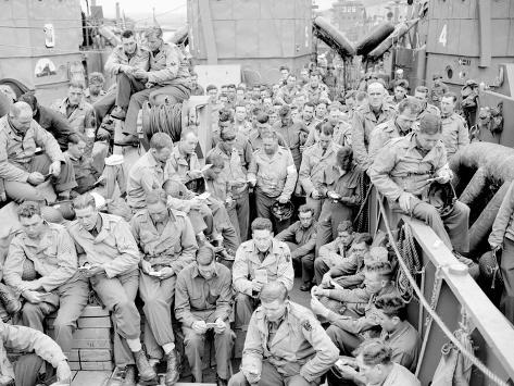U.S. Serviceman Attend a Protestant Service Aboard a Landing Craft Before the D-Day Invasion Photographic Print