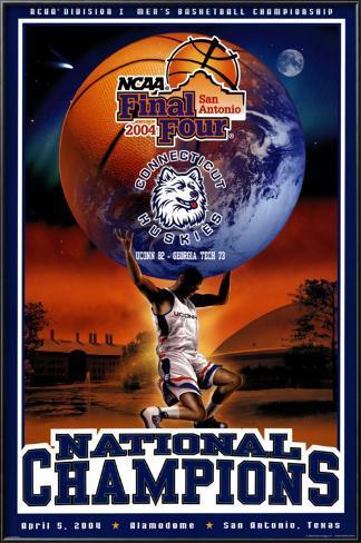 UCONN - 2004 NCAA Men's Div. 1 National Champions Lamina Framed Poster