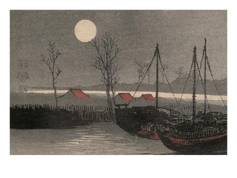 Sailboats Moored under the Moon. Art Print
