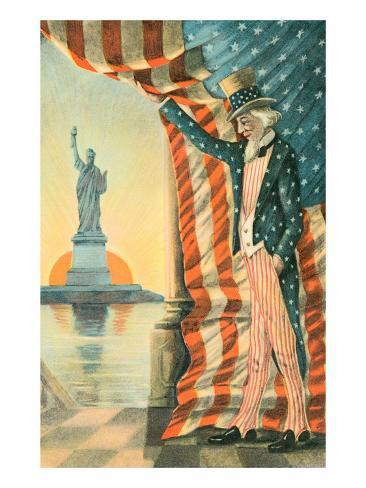 Uncle Sam Viewing Statue of Liberty Art Print