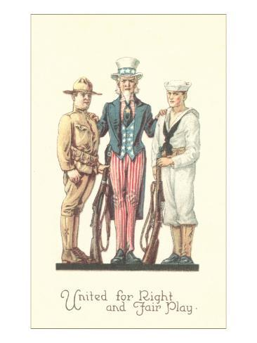 Uncle Sam with Soldier and Sailor Art Print