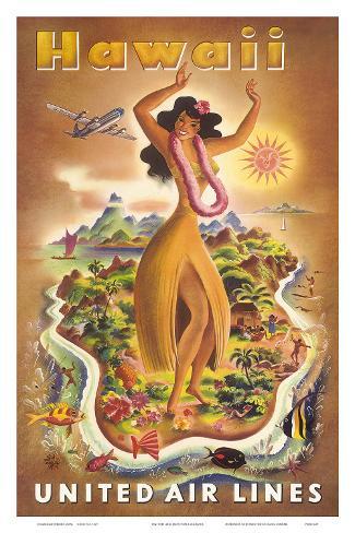 United Airlines, Hula Dancer Framed Art Print
