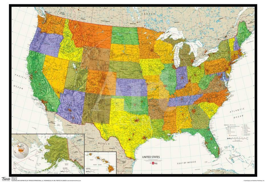 United States Map Physical And Political Poster Photo At Allposters Com