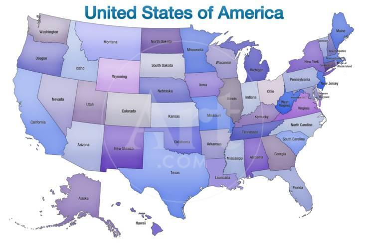 Purple America Map.United States Of America Map Usa Blue Tonal Poster At Allposters Com
