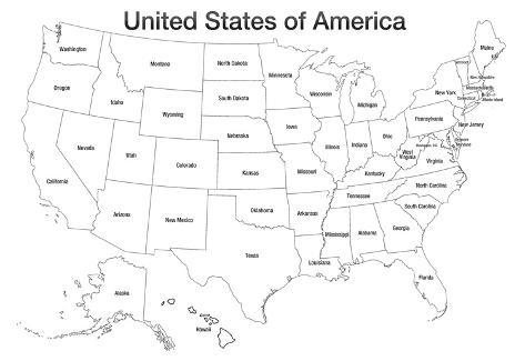 United States of America Map USA Coloring Art Poster Print Posters ...