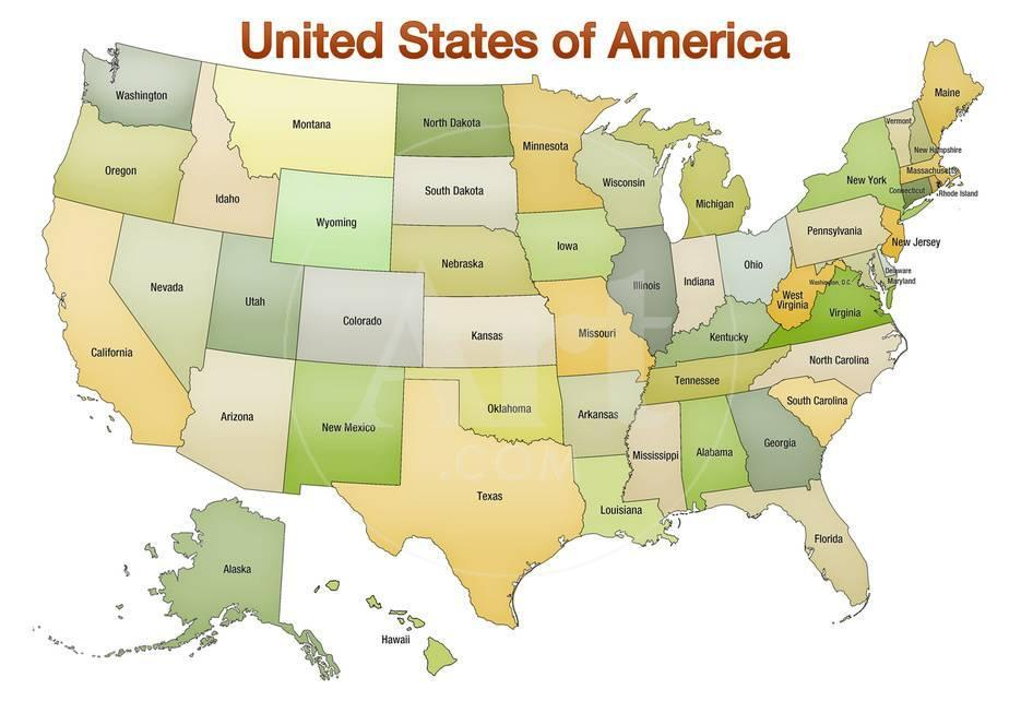 Print Map Of Usa.United States Of America Map Usa Green Tonal Art Poster Print Photo