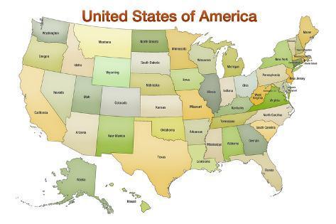 オールポスターズの united states of america map usa green tonal 高