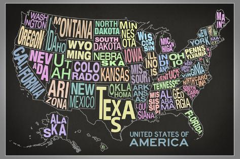 United States of America Stylized Text Map (Black) Art Print