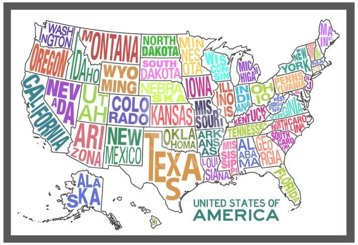 United States Of America Stylized Text Map Colorful Print At
