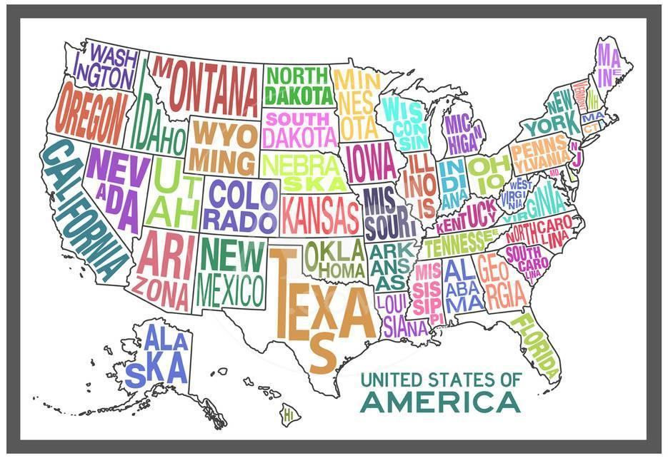 United States of America Stylized Text Map Colorful Print at ...
