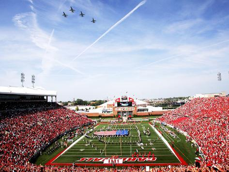 University of Louisville - Papa John's Cardinal Stadium Fly-Over Stretched Canvas Print
