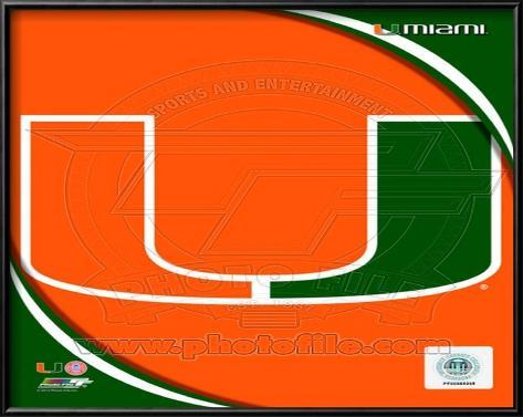 University of Miami Hurricanes Team Logo Lamina Framed Art Print