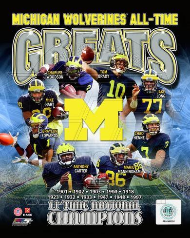 University of Michigan Wolverines All Time Greats Composite Photo