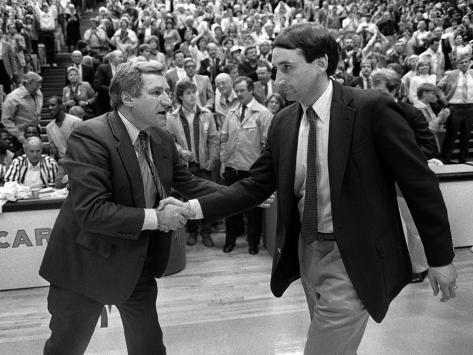 University of North Carolina - Coach Dean Smith Greeting Duke Photo