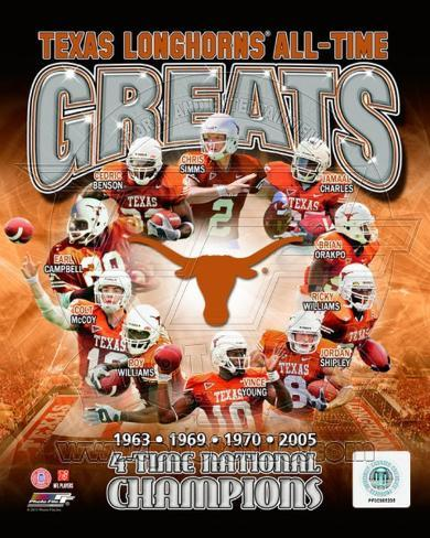 University of Texas Longhornss All Time Greats Composite Photo