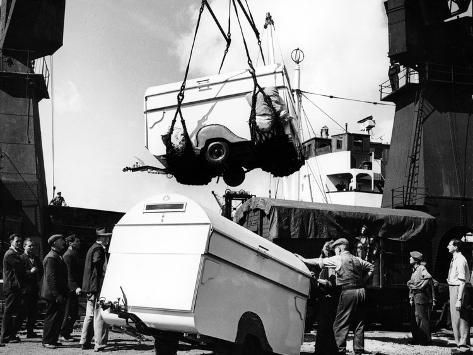 Unloading Trailers from a Ship, C1950s Stampa fotografica
