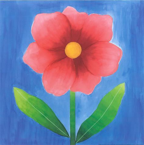 Pink Flower With Leaves Art Print