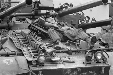 US Marine Relaxes During a Break in the Fighting at Hue, Tet Offensive, Feb. 1968 Stretched Canvas Print