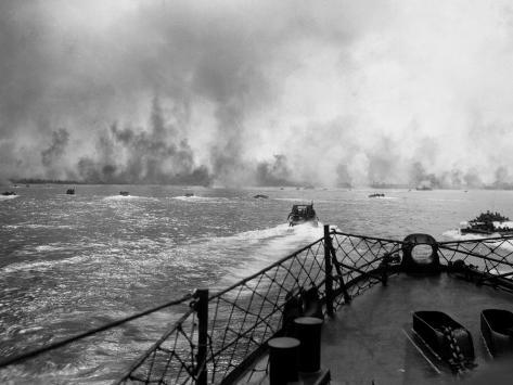US Marines in Landing Craft Approaching Peleliu Island to Attack Occupying Japanese Forces There Photographic Print