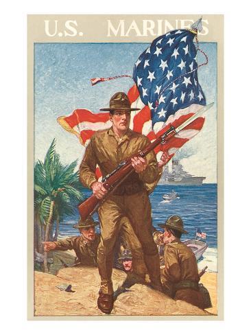 US Marines, On the Beach Art Print
