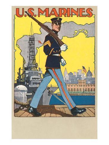 US Marines, Patrolling Dock Art Print