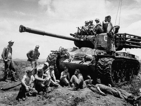US Marines Relaxing on the Battlefield after Cease-Fire Photographic Print