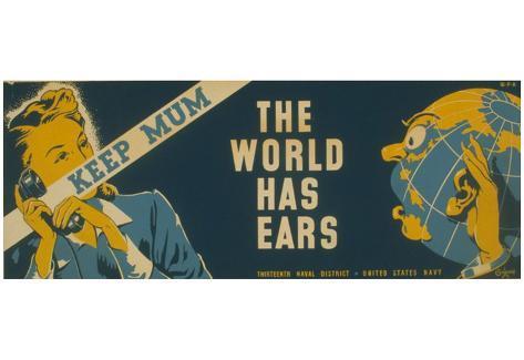 US Navy (Keep Mum, The World Has Ears) Art Poster Print Poster