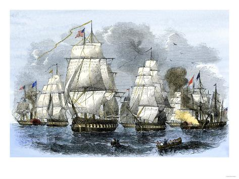US Navy Squadron Commanded by Matthew Perry Sailing for Japan, 1852, including USS Susquehannah Giclee Print