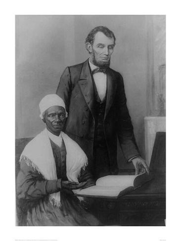 US President Abraham Lincoln at the White House in 1861 with Sojourner Truth Stampa giclée