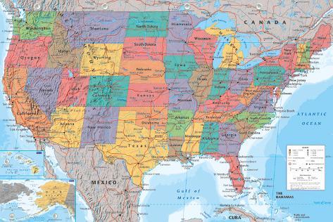 USA Map Lamina Framed Poster
