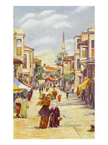 Uskudar (Scutari) - a Street Scene. Constantinople, Turkey Lámina giclée