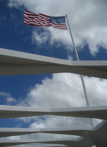 USS Arizona Memorial, Pearl Harbor (American Flag) Art Poster Print Masterprint