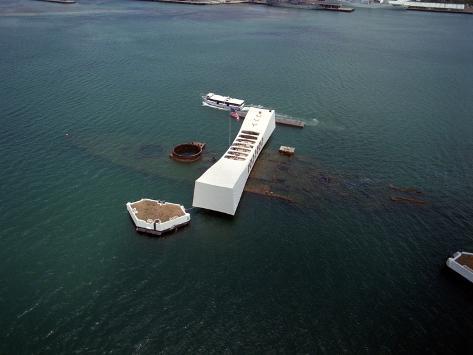 USS Arizona Memorial Rests on the Actual Battleship Sunk in Pearl Harbor, 1991 Photo