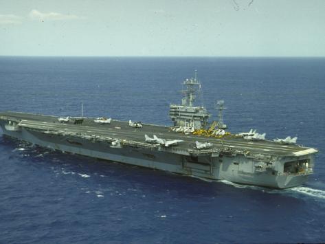 Uss Nimitz, Aircraft Carrier, Off VA Premium Photographic Print