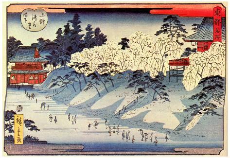 Utagawa Hiroshige Full Flower at Ueno Shimizu Main Hall Art Print Poster Poster