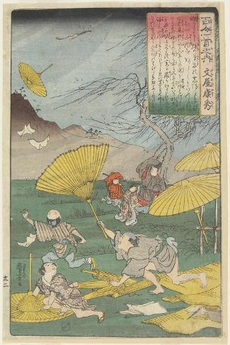 Illustration of the Bunya No Yasuhide's Poem, C. 1840-1842 Giclee Print