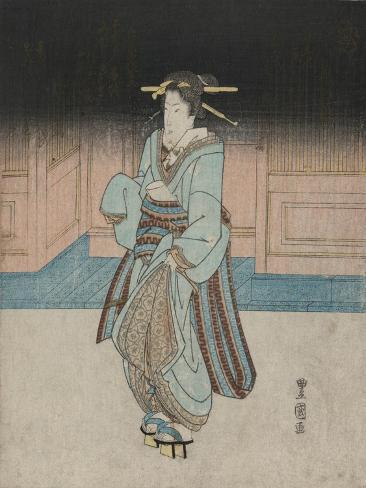 A Geisha on an Evening Stroll in Fukagawa Stampa giclée