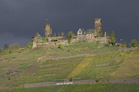 Dark Clouds over the Thurand Castle Near Alken on the Moselle Photographic Print