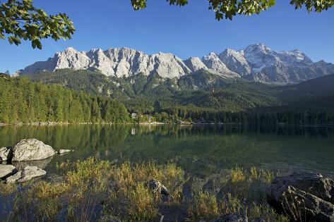 Eibsee in Grainau Near Garmisch-Partenkirchen, Wetterstein Range with Zugspitze Photographic Print