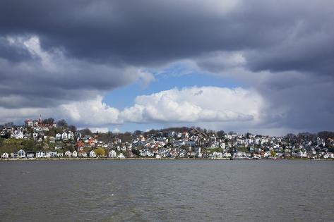 Germany, Hamburg, Rain Clouds over the Bank of the River Elbe in Hamburg-Blankenese Photographic Print
