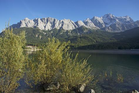 Lake Eibsee in Grainau Close Garmisch-Partenkirchen, Wetterstein Range with Zugspitze Photographic Print