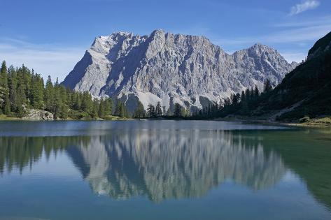 Mirroring of the Wetterstein Mountains with Wetterspitzen and Wetterwandkopf, Lake Seebensee Photographic Print