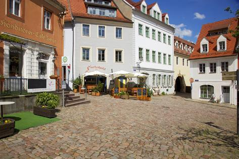 Square at the Cafe Ziegler in the Old Town of Mei§en, Corner Castle Hill and Bergstra§e Photographic Print