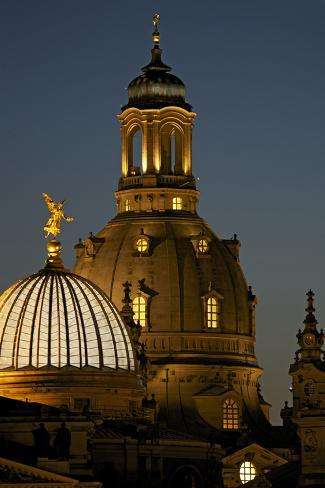 Tower of the Illuminated Church of Our Lady in the Evening Photographic Print