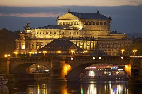 View over the Elbe to the Illuminated Semperoper in Dresden in the Evening Photographic Print